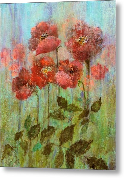Poppies In Pastel Watercolour Metal Print