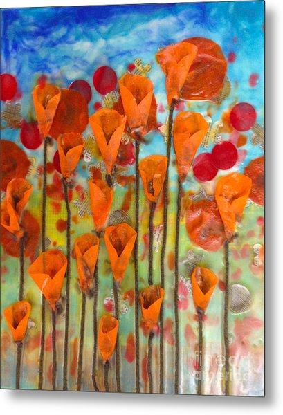 Poppies Make Me Happy Metal Print