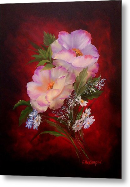 Poppies On Red Metal Print