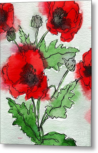 Watercolor Poppies Metal Print