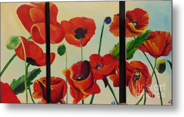 Metal Print featuring the painting Poppies by Saundra Johnson