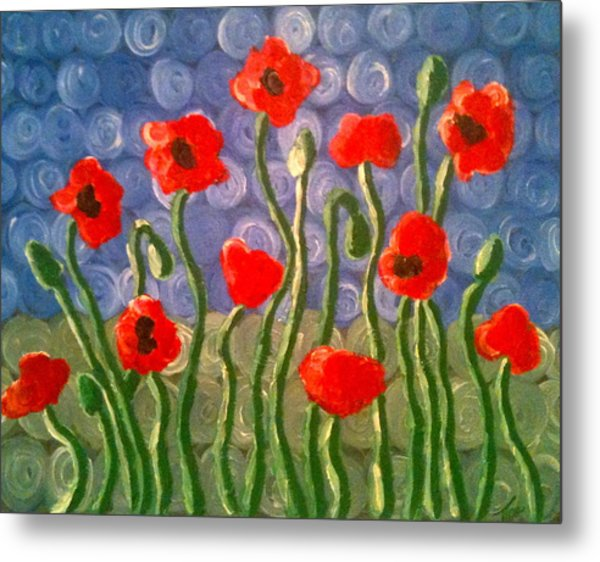 Poppies Metal Print by Tina Hollis