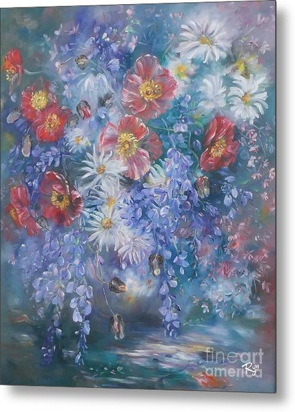 Poppies, Wisteria And Marguerites Metal Print