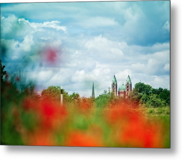 Poppy Field And Speyer Cathedral Metal Print