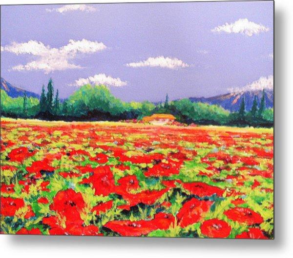Poppy Field Metal Print