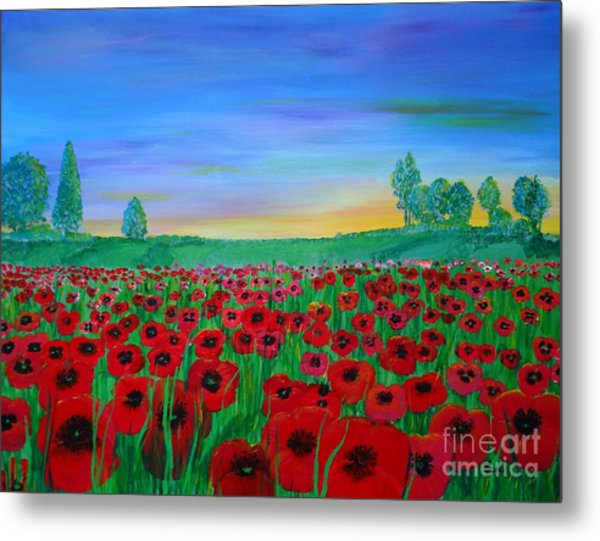 Poppy Field At Sunset Metal Print