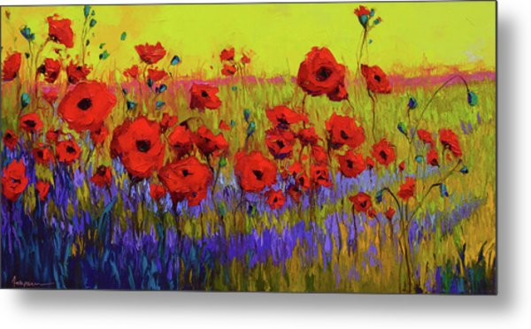 Poppy Flower Field Oil Painting With Palette Knife Metal Print