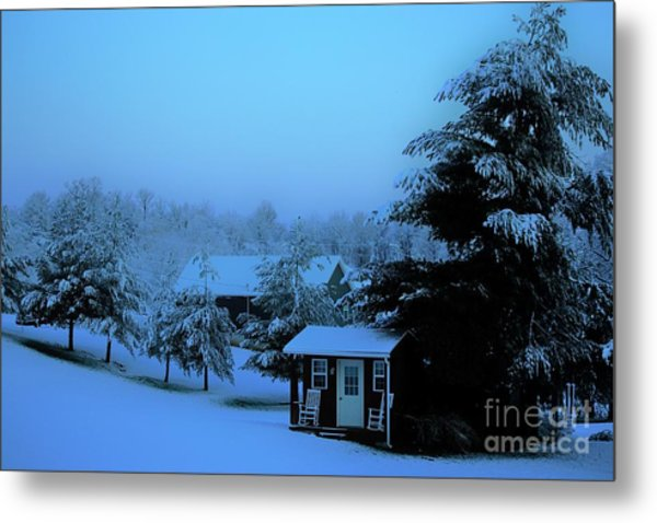Porch Setting, Not Today Metal Print