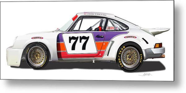 Porsche 1977 Rsr Illustration Metal Print