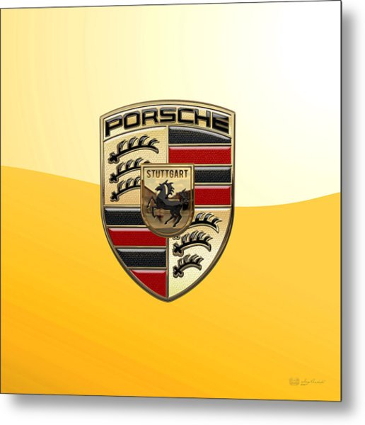 Porsche - 3d Badge On Yellow Metal Print
