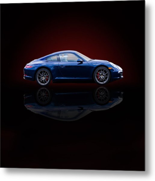 Porsche 911 Carrera - Blue Metal Print