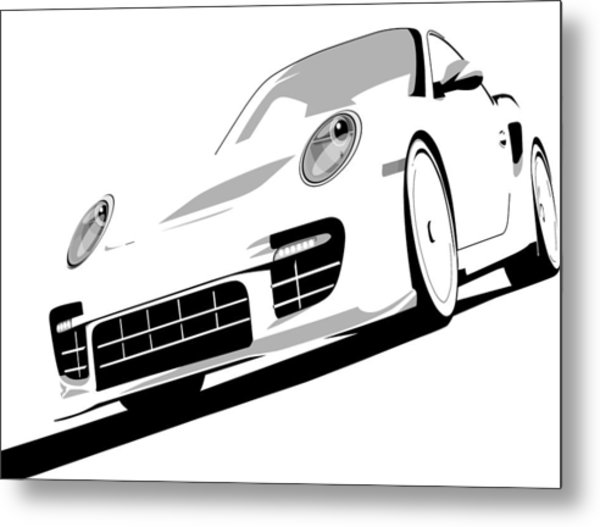 Porsche 911 Gt2 White Metal Print