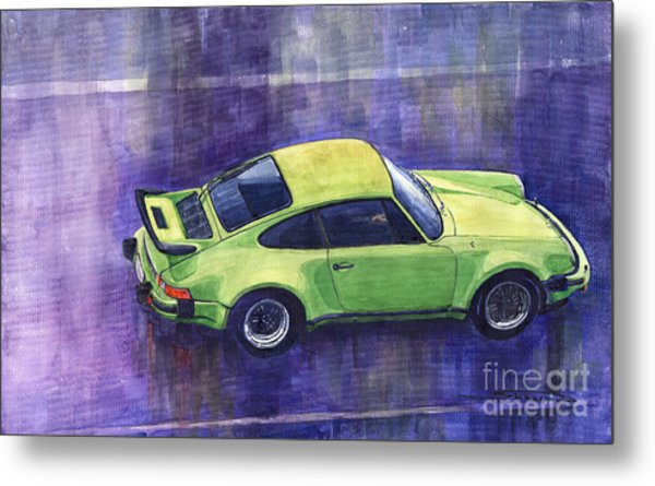 Porsche 911 Turbo Green Metal Print