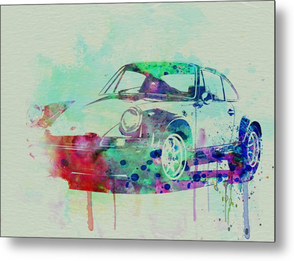 Porsche 911 Watercolor 2 Metal Print