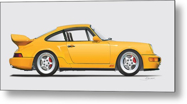 Porsche 964 Carrera Rs Illustration In Yellow. Metal Print