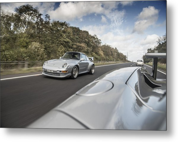 Porsche 993 Gt2 With Carrera Gt And 1973 2.7 Rs Metal Print
