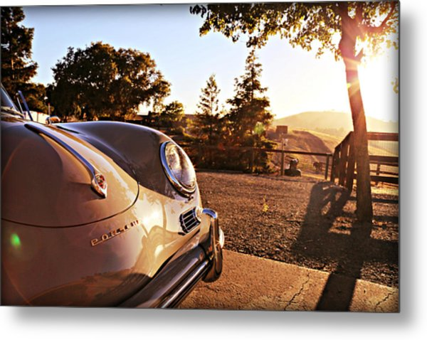 Porsche Sundown Metal Print