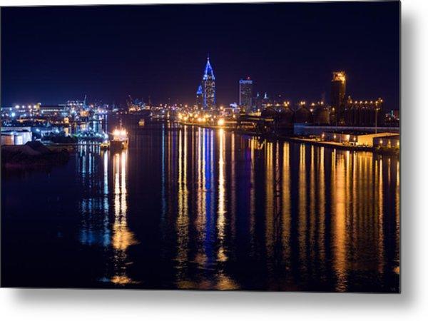Port City In Blue Metal Print