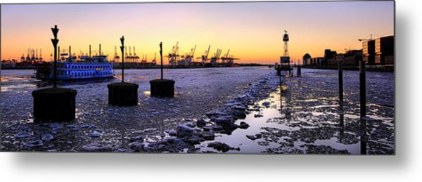 Metal Print featuring the photograph Port Of Hamburg Winter Sunset by Marc Huebner
