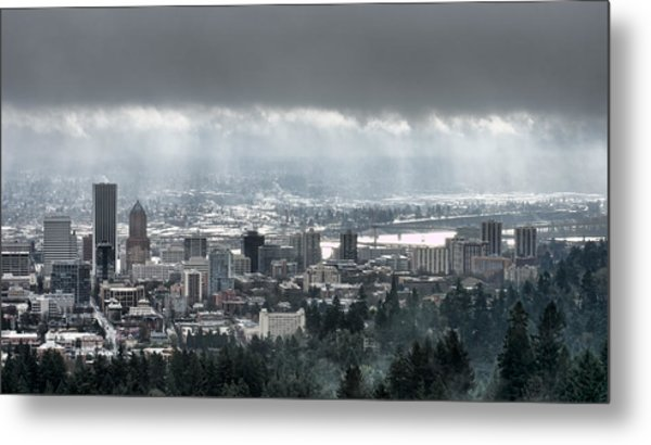 Portland After A Morning Rain Metal Print