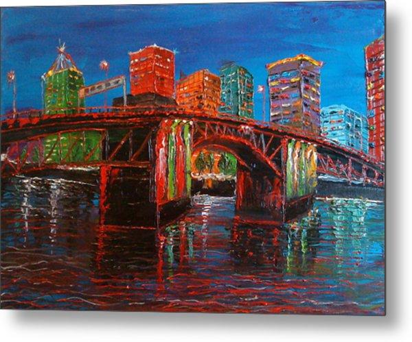 Portland City Lights Over The Morrison Bridge Metal Print by Portland Art Creations