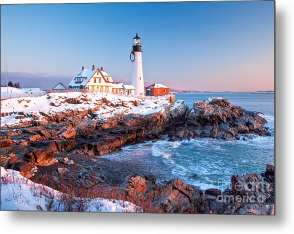 Portland Head Greets The Sun Metal Print