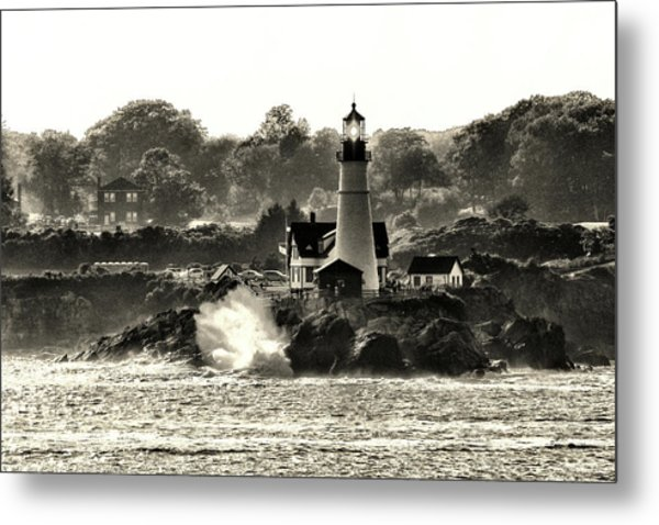 Portland Head Light At Cape Elizabeth In Black And White Metal Print