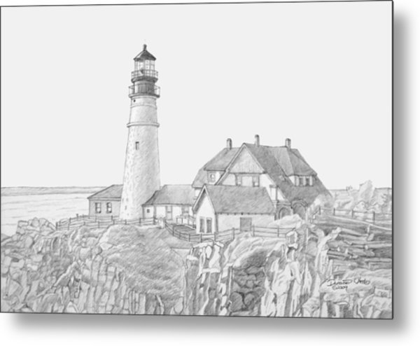 Portland Head Light Drawing Metal Print