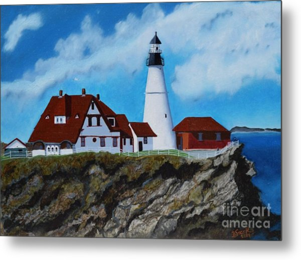 Portland Head Light In Maine Viewed From The South Metal Print