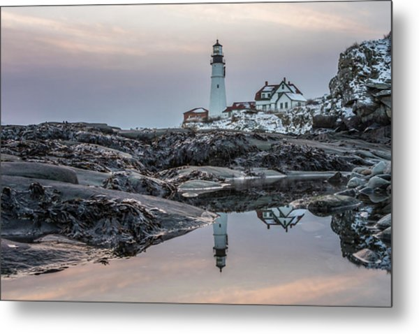 Portland Head Light Reflection Metal Print