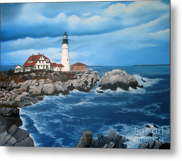 Portland Head Light Metal Print by Tobi Czumak