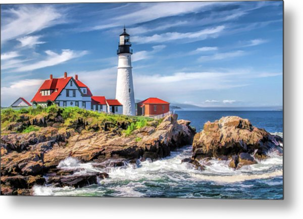 Metal Print featuring the painting Portland Head Lighthouse by Christopher Arndt