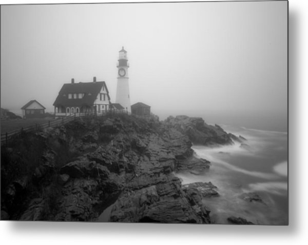 Portland Head Lighthouse In Fog Black And White Metal Print