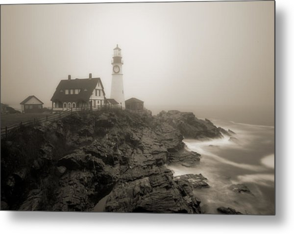 Portland Head Lighthouse In Fog Sepia Metal Print
