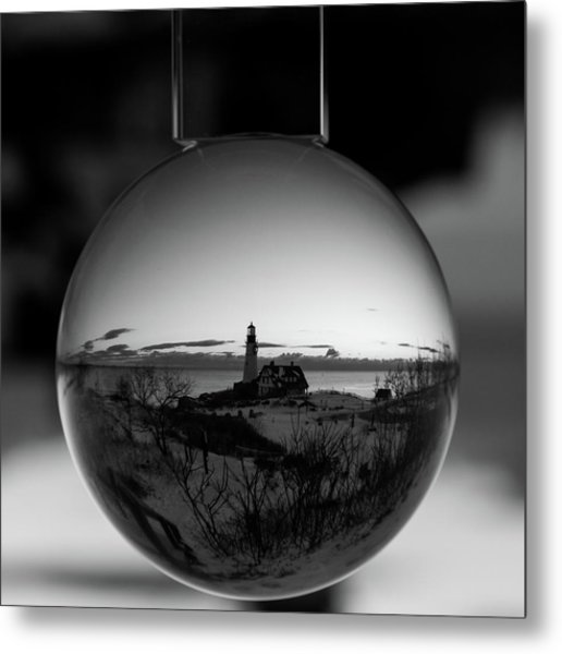 Portland Headlight Globe Metal Print