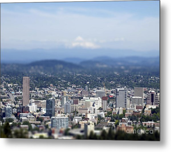 Portland In Perspective Metal Print