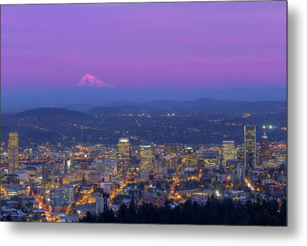 Portland Oregon Cityscape At Dusk Metal Print