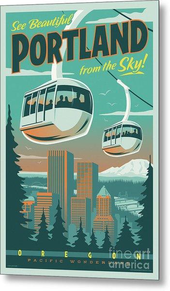 Portland Tram Retro Travel Poster Metal Print
