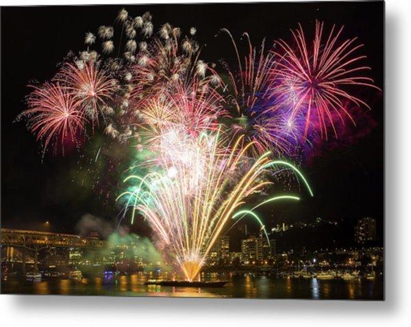 Portland Waterfront 4th Of July Fireworks Metal Print