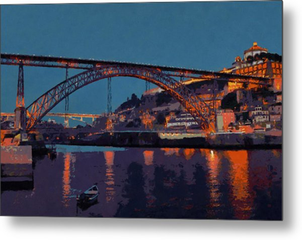 Porto River Douro And Bridge In The Evening Light Metal Print by Menega Sabidussi