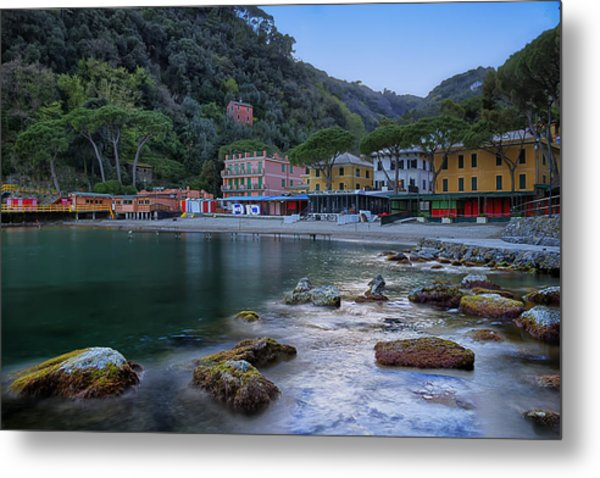 Portofino Mills Valley With Paraggi Bay And Beach Metal Print