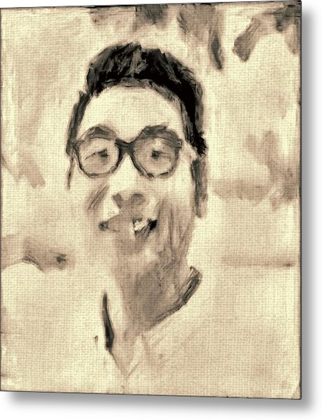 Portrait In Brown Sepia On Canvas In Oil Just The Underpainting Metal Print by MendyZ