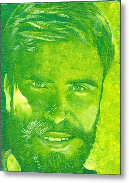 Portrait In Green Metal Print