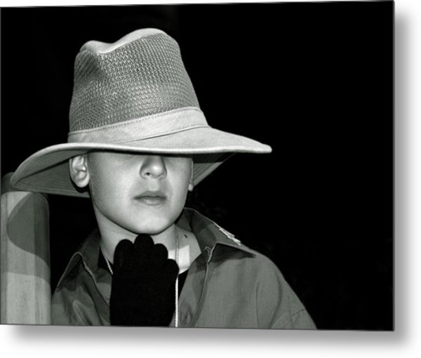 Portrait Of A Boy With A Hat Metal Print