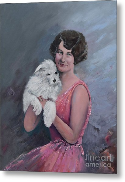 Maggie And Caruso -portrait Of A Flapper Girl Metal Print