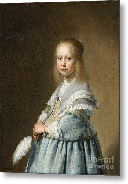 Portrait Of A Girl Dressed In Blue By J. Cornelisz Metal Print