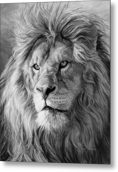 Portrait Of A Lion - Black And White Metal Print