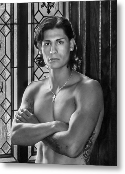 Portrait Of A Male Model Metal Print by James Woody