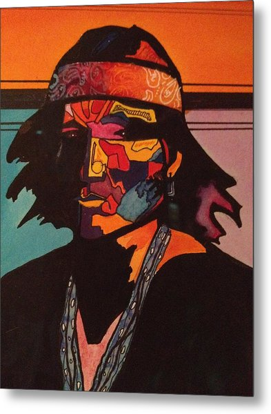 Portrait Of A Native American Indian Metal Print by Jeff Knott