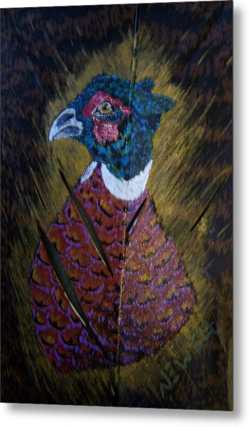 Portrait Of A Ringneck Metal Print by Chris Newell